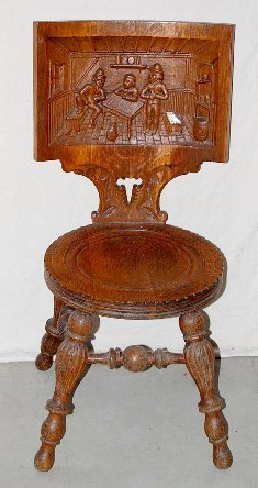 13: Oak Carved Tavern Chair