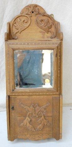 14A: Oak Hanging Shaving Cabinet w/ Mirror