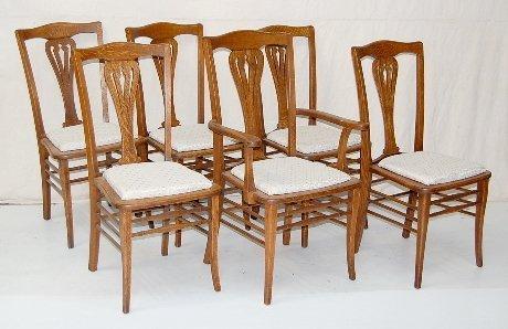 16: Set of 6 Oak Padded Seat Chairs