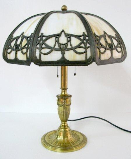 17: Bradley & Hubbard Mfg Co. #64, 8 Panel Table Lamp