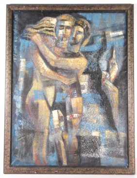 Oil On Canvas 2 Lovers By Noptphon Morkba, 1989