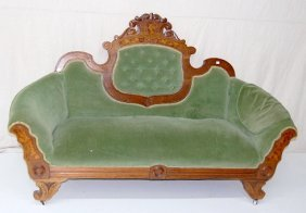 Green Upholstered Victorian Walnut Love Seat