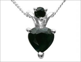 1.40 Ctw Sapphire Heart Sterling Silver Necklace