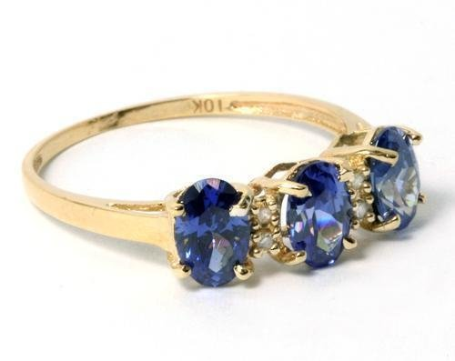 56B: 2.40 ctw Lab Created Tanzanite & Diamond 10K Ring