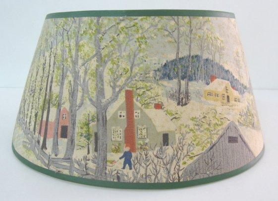 58: Paper Lamp Shade w/ Winter Farm Scene