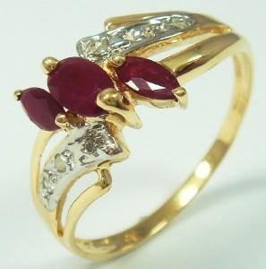 61B: 1.00 ctw Genuine Ruby & Diamond 10K Gold Ring