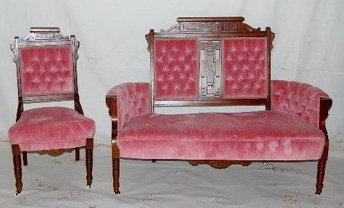 64A: Eastlake Walnut Settee & Chair