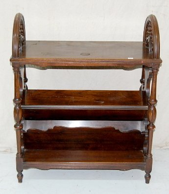 10A: Wooden Magazine/Book Stand w/ Ships Wheel Top