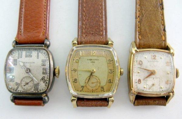 3: 3 Hamilton 17J Wrist Watches