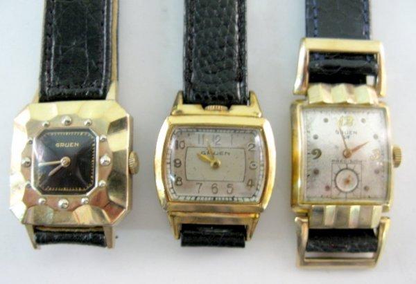 6: 3 Gruen Wrist Watches