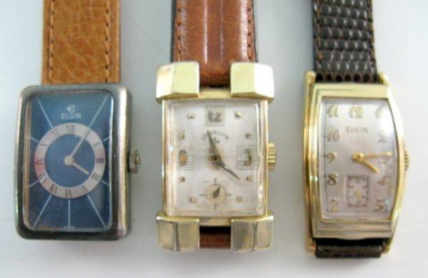 7: 3 Elgin Wrist Watches: 21J, 15J & 17J