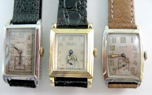 10: 3 Gruen Wrist Watches: 15J & 17J