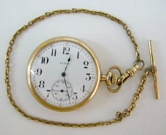 12: Elgin Nat'l 17J 14S OF DMK SW/SS Pocket Watch