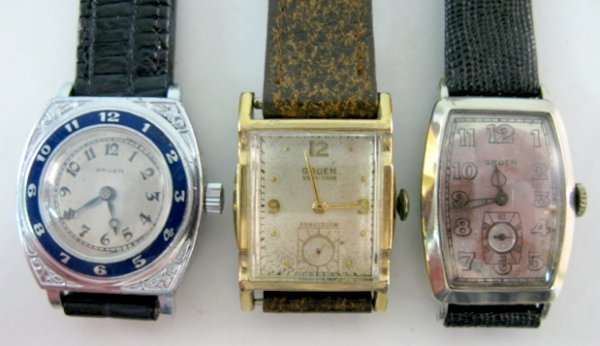 19: 3 Gruen Wrist Watches: Veri-Thin & Other