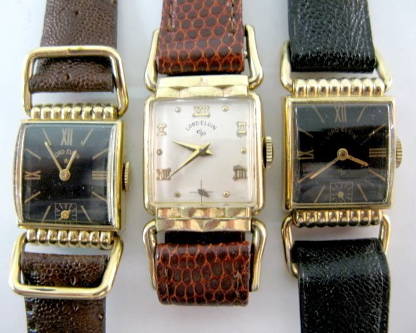 23: 3 Lord Elgin Wrist Watches, 2 Black Dials