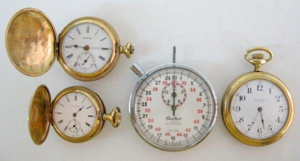 24: 4 Pocket Watches: Elgin Nat'l, Am. Waltham & More
