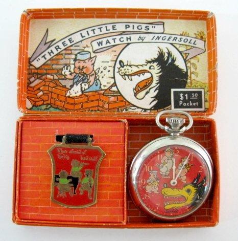 70: Ingersoll Three Little Pigs Pocket Watch in Box w/F