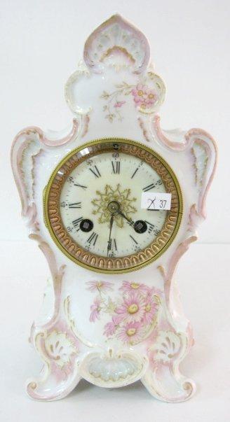 8: Porcelain Clock w/Floral Décor