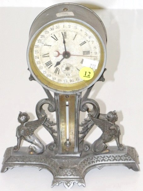 12: Calendar Clock w/Thermometer & Griffins