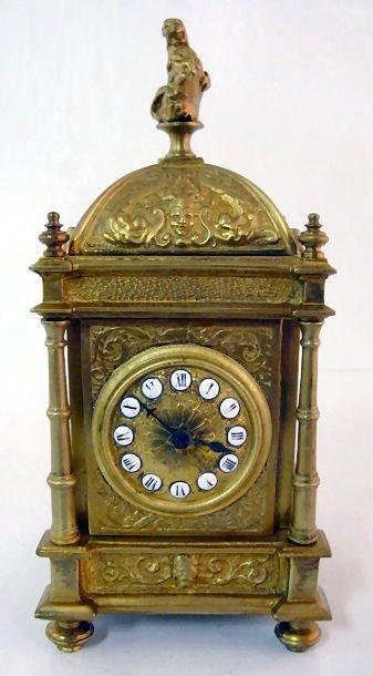 13: E.P. Depose Brass Time Only Clock w/Lion Finial