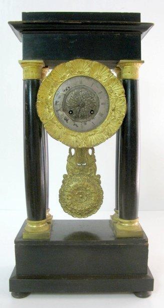 16: French Portico Wood & Bronze Dore Clock