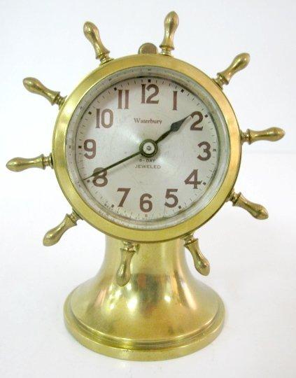 12A: Waterbury Brass Ships Wheel Desk Clock