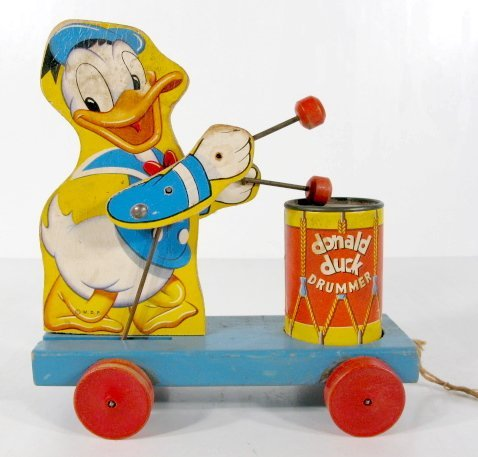 18: Fisher Price 454 Donald Duck Drummer Pull Toy