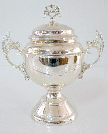 1: BG Uher Silver Victorian Sugar Bowl w/Spoon Rack