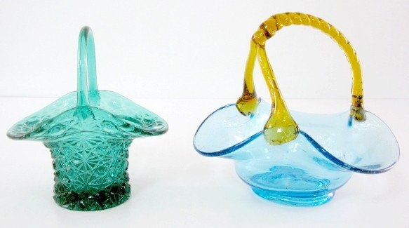 5: 2 Colored Glass Baskets