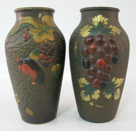 7: 2 Goofus Glass Vases