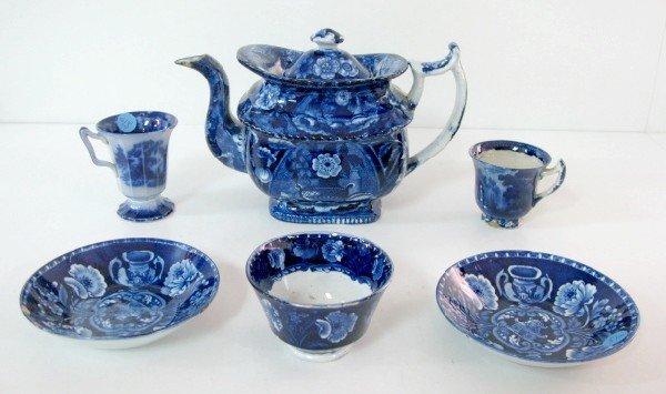 8: Flow Blue Tea Cups, Tea Bowls & Teapot