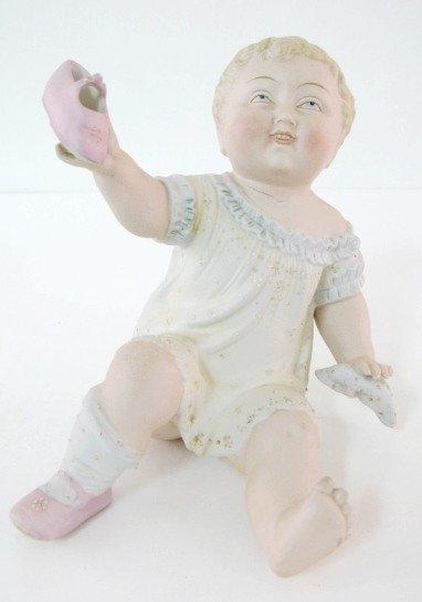 9: German Bisque Baby Figure w/Pink Shoes