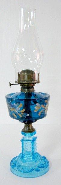 12: Aquarius Blue Base Oil Lamp w/Painted Decoration