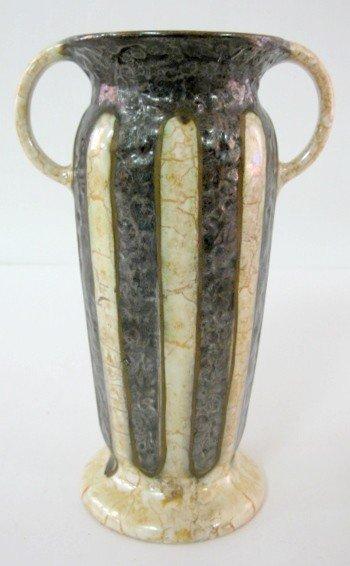 13: Czechoslovakia Black Metallic Pottery Vase
