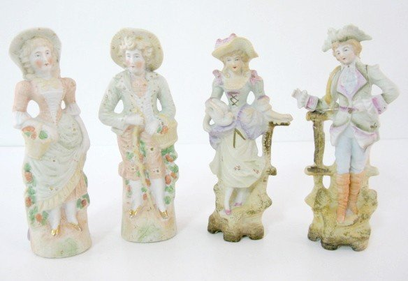 14: 2 Pairs German Bisque Man & Woman Figures