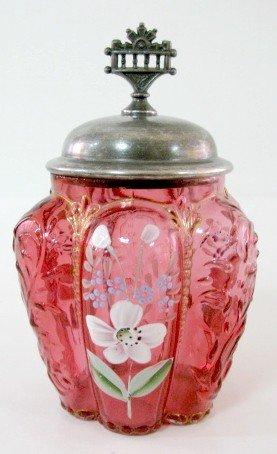 17: Cranberry Glass Pickle Jar, No Frame