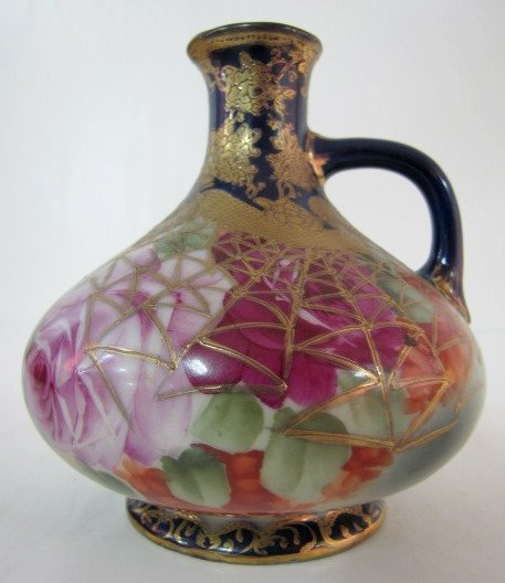 7A: Hand Painted Japan Floral Decorated Ewer