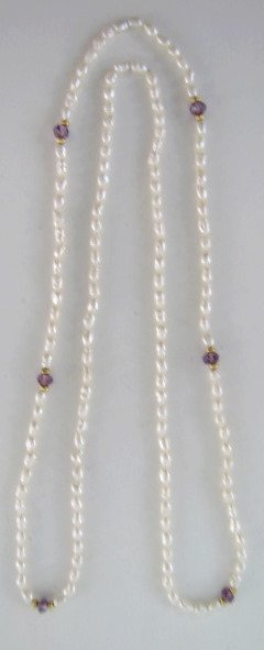 17A: Seed Pearl and Amethyst Glass Bead Necklace