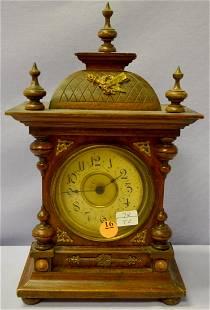 European Walnut Bell Strike Alarm Clock