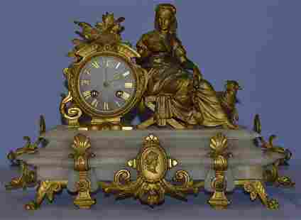 Japy Freres Alabaster Gilt Metal and French Clock