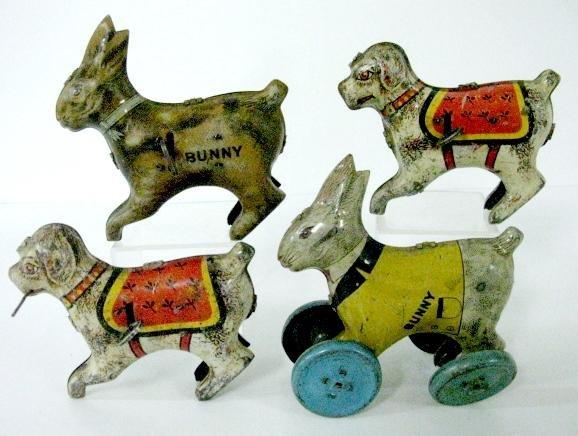 1: Group of 4 Vintage Tin Litho Toys