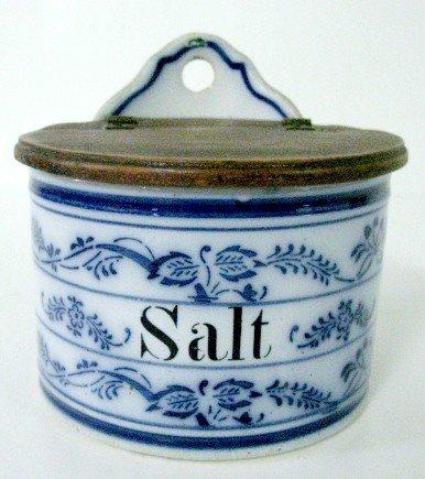 4: Blue & White Stoneware Salt Box