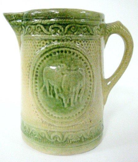 5: Green & Yellow Stoneware Cow Pitcher