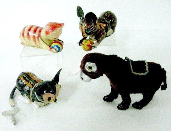 6: 4 Vintage Keywind Tin & Tin Litho Toys