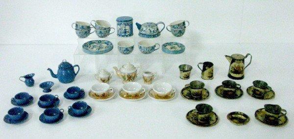 9: 4 Sets of Tin, Granite & China Children's Dishes