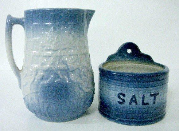 10: 2 Pieces of Blue & White Stoneware