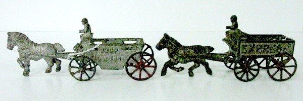 13: 2 Cast Iron Horses & Wagons