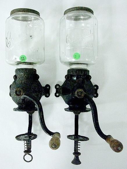 22: 2 Arcade Glass Jar Coffee Grinders