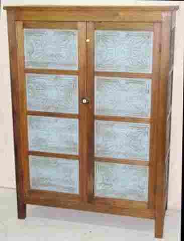 Antique 16 Panel Pierced Tin Pie Safe