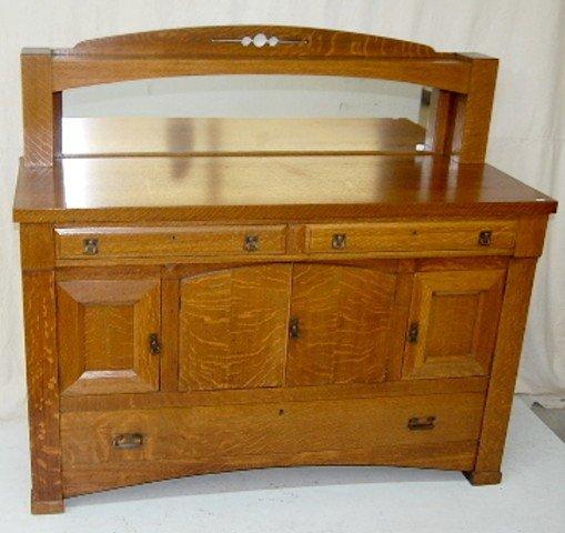 152A: Arts & Crafts Mission Oak Buffet w/ Mirror